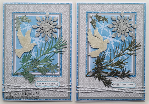 Dove and Snowflake embellished Christmas Cards - by Nikki Acton