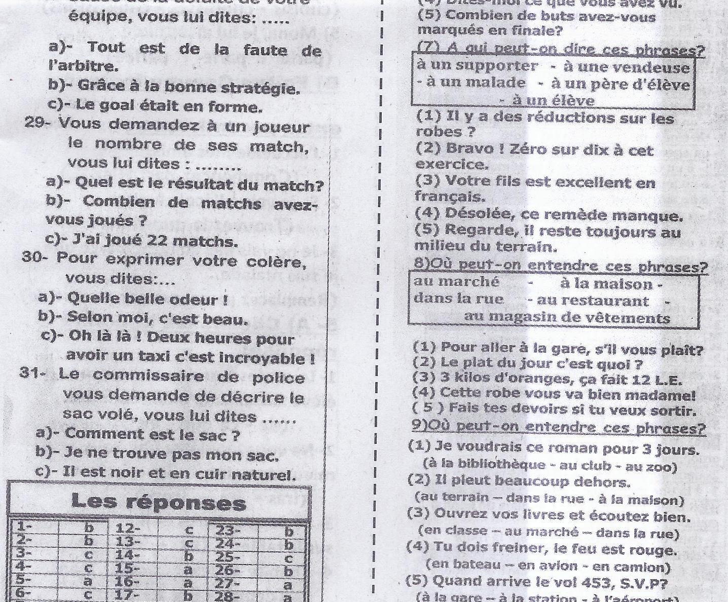 اهم أسئلة اللغة الفرنسية بالاجابات لن يخلو منها امتحان 3 ثانوي 2016 14