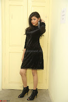 Mounika in a velvet short black dress for Tick Tack Movie Press Meet March 2017 109.JPG