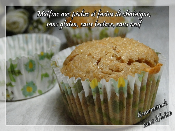 Muffins aux pêches, farine de châtaigne, sans gluten, sans lactose, sans oeuf