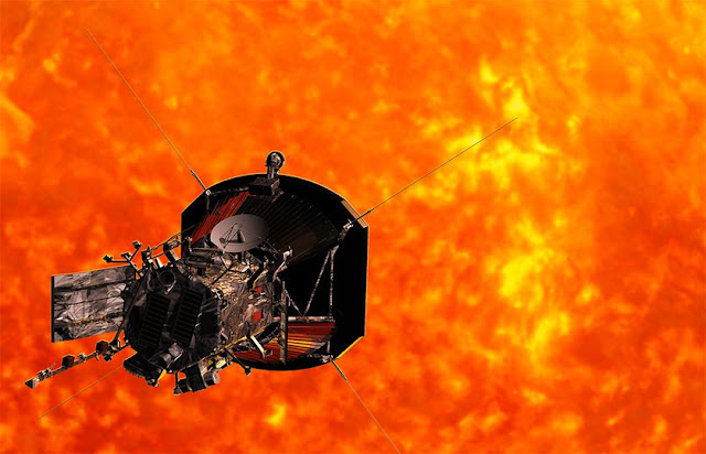Image Attrubute: Artist's illustration of NASA's Parker Solar Probe approaching the sun/ Credit: Johns Hopkins University Applied Physics Laboratory