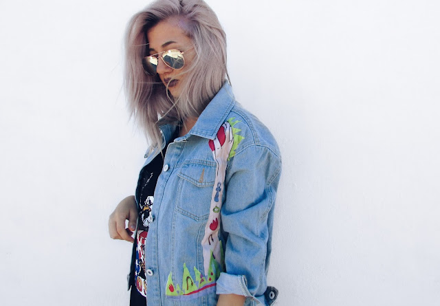 cartoon denim jacket outfits