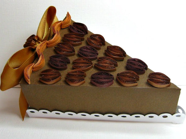 paper sculpture pie slice with quilled pecans