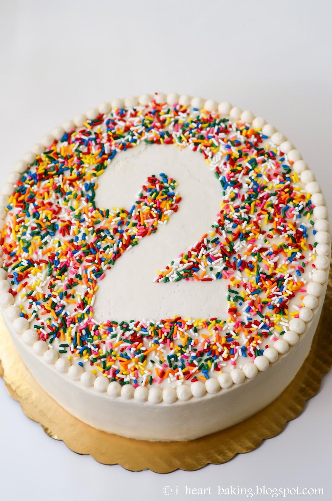 i heart baking rainbow sprinkle birthday cake with beaded border