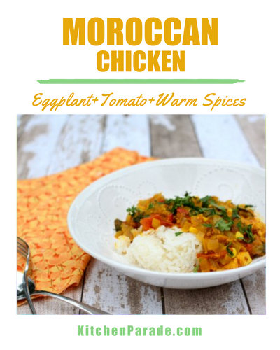 Moroccan Chicken ♥ KitchenParade.com, a one-pot chicken stew simmered with eggplant and tomato in a sauce perfumed with Morrocan-style spices. Weeknight Easy, Weekend Special. Weight Watchers Friendly. Naturally Gluten Free. High Protein.