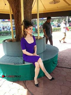 Bollywood Actress Kangana Ranaut Stills in Purple Short Dress at the Derby  0001.jpg