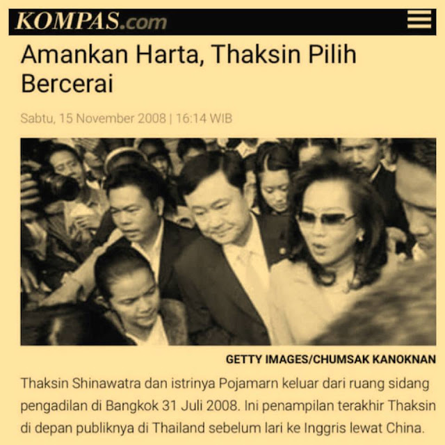 Modus Bercerai: Amankan Harta, Mantan PM Thailand Thaksin Pilih Bercerai
