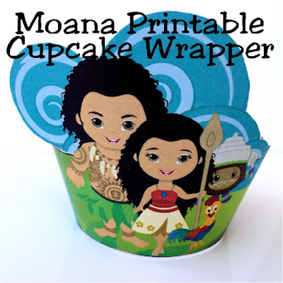 Turn boring old cupcakes into a fun party dessert at your Moana party.  This printable cupcake wrapper is easy to cut and can be downloaded and printed today to surprise a little voyager in your life.