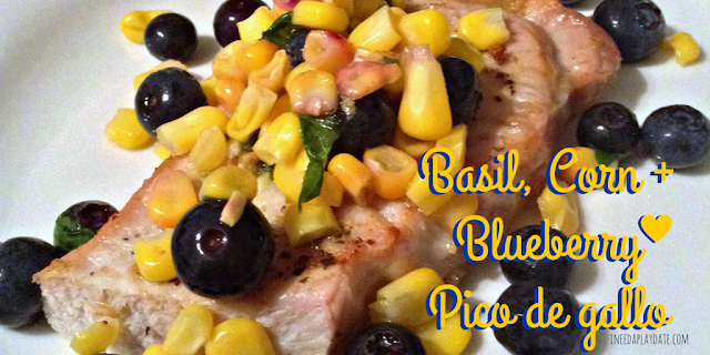 Basil, Corn + Blueberry Pico de gallo #recipe
