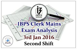 IBPS Clerk Mains- Exam Analysis held on 3rd Jan 2016 (Second Shift)