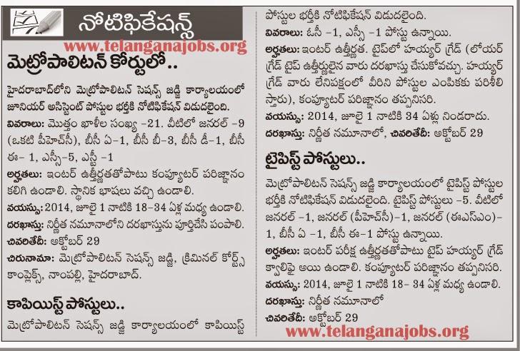 October 2014 ~ Telangana Jobs|Govt Jobs in Telangana