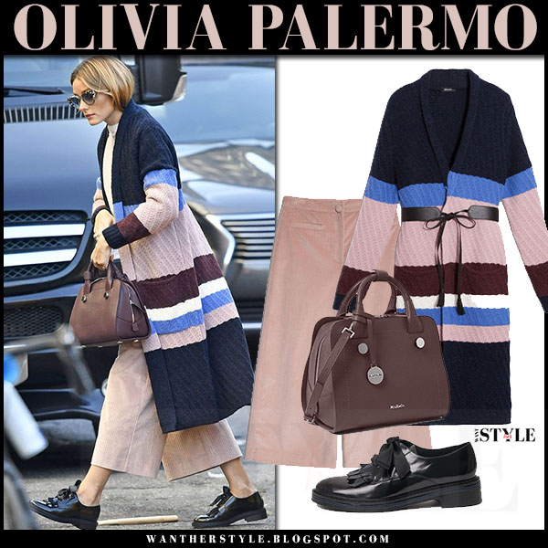 Olivia Palermo in striped navy pink knit long cardigan coat pralina max and co, pink cropped wide leg trousers and black shoes what she wore fall fashion