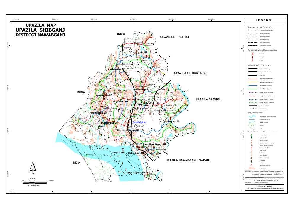 Shibganj Upazila Map Nawabganj District Bangladesh