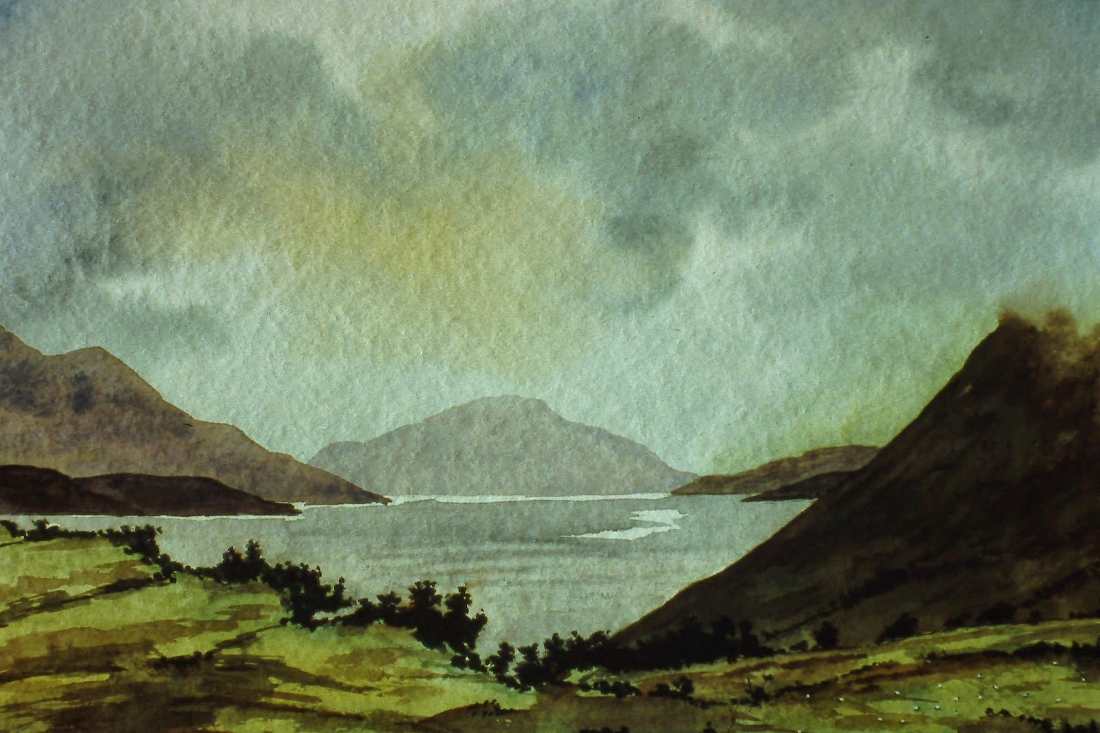 Loch Ness, Scotland  11x14 inches. Watercolor on paper, c. 1991.  In a private collection in Montrose, Scotland by Lenny Campello