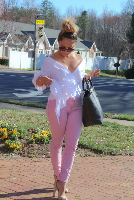 blush pink and off the shoulder white top
