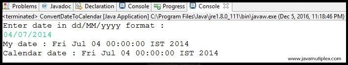 Output of Java program that converts given Date to Calendar.