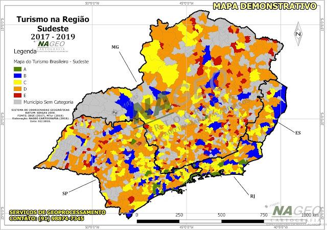 Mapa do Turismo Brasileiro - Reião Sudeste NAGEO Cartografia (2018).