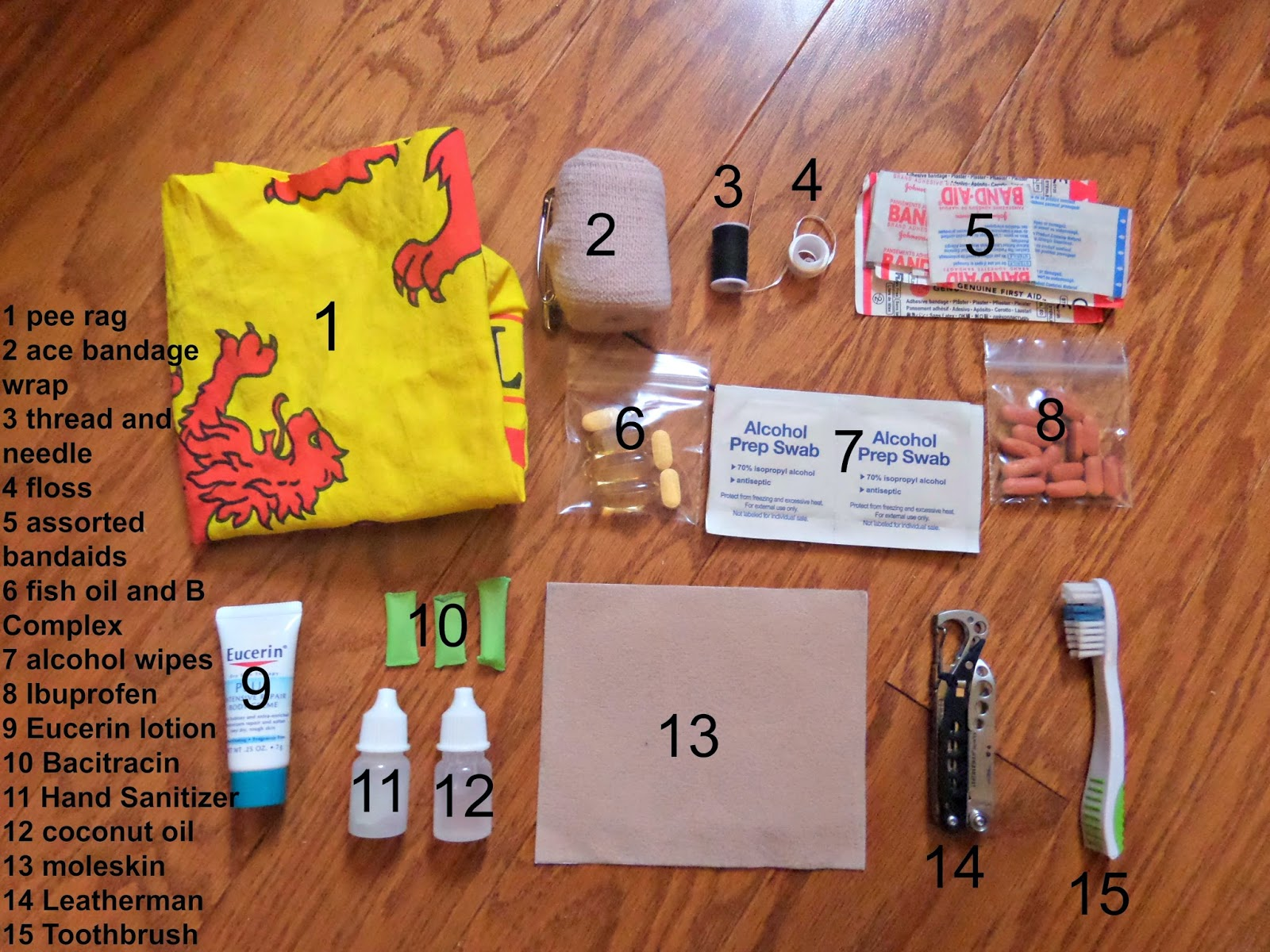 Backpacking First Aid and Hygiene Kit