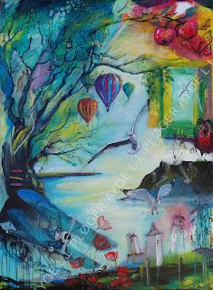 Familie,symbolik,glad,farver,humor,fortælling i billeder,familie historie,kunst,maleri,Ayoe Lise Pløger