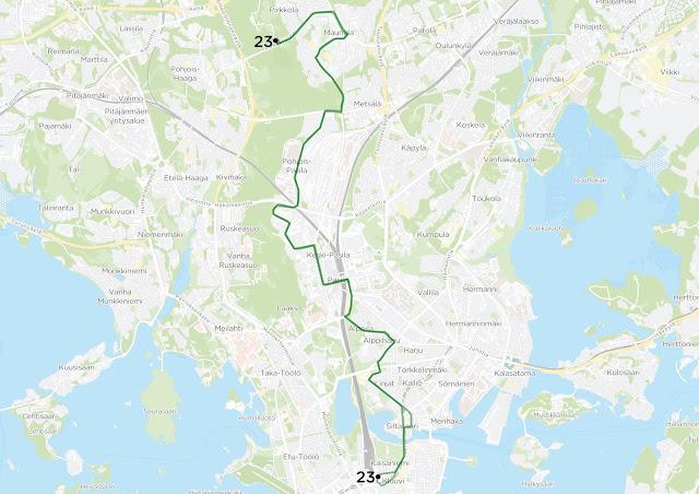 Kuvassa näkyy linjan 23 uusi reitti.