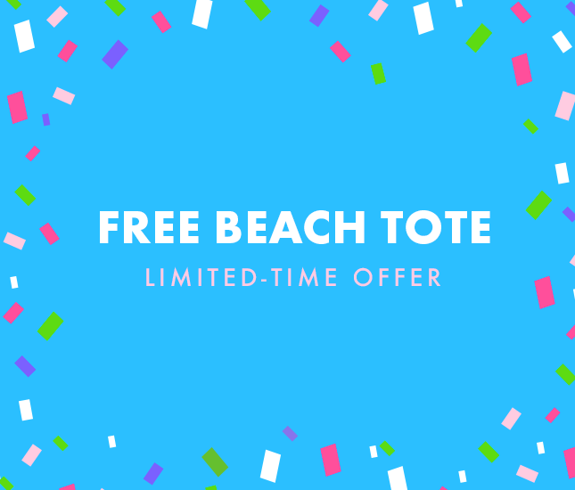 free monogrammed beach tote with $100 spend