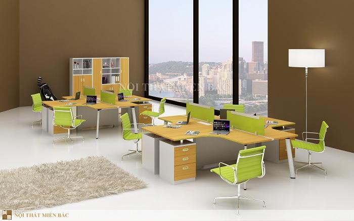 Thiết kế phòng làm việc đẹp với kiểu bàn làm việc nhóm