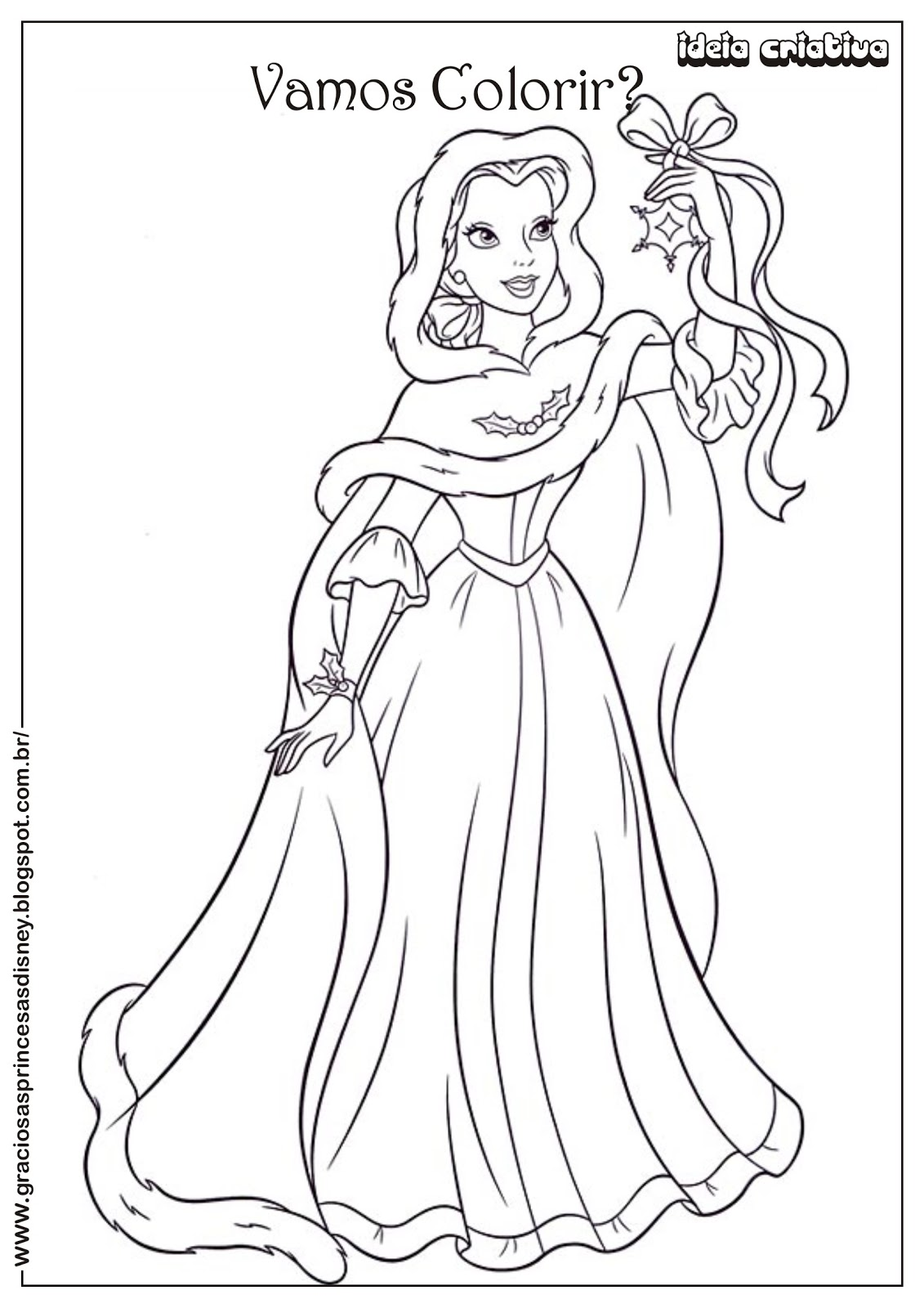 Riscos Para Colorir Gratis Princesa Disney Natal Bela Colorir