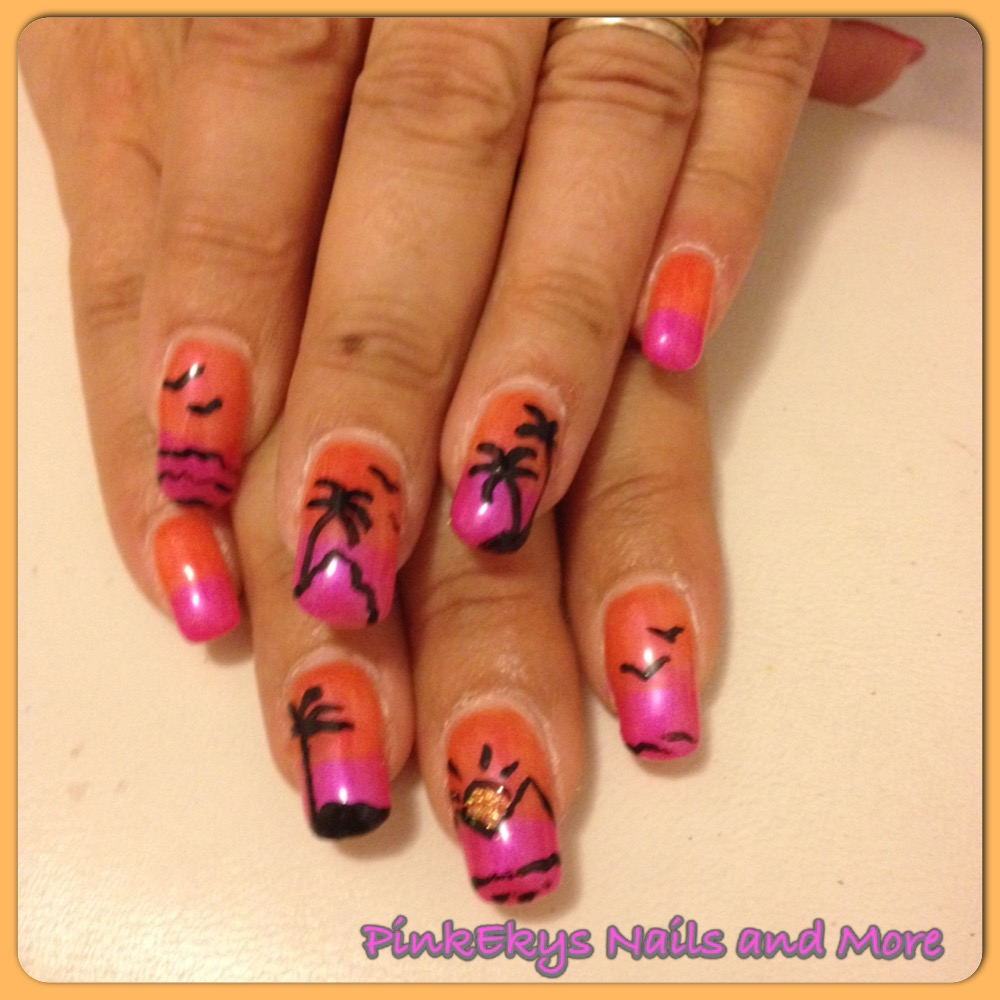 Favoloso Pinkekys : Unghie in gel: Sunset Nails TI17