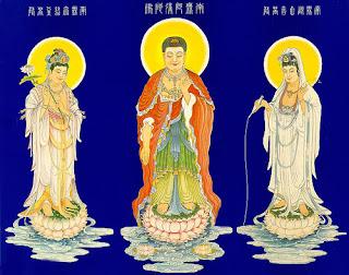 Amitabha Buddha, Avalokiteśvara  Bodhisattva, Mahasthāmaprāpta Bodhisattva
