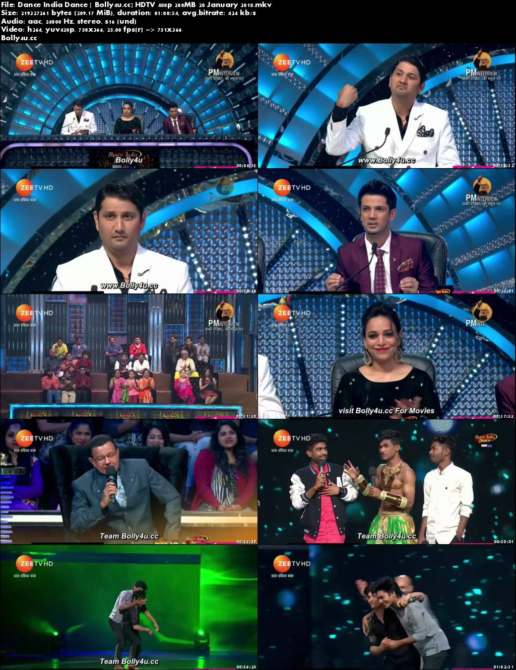 Dance India Dance HDTV 480p 200MB 20 January 2018 Download