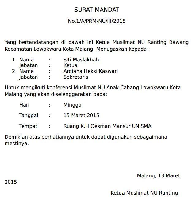 Contoh Surat Mandat Karang Taruna Menghadiri Undangan