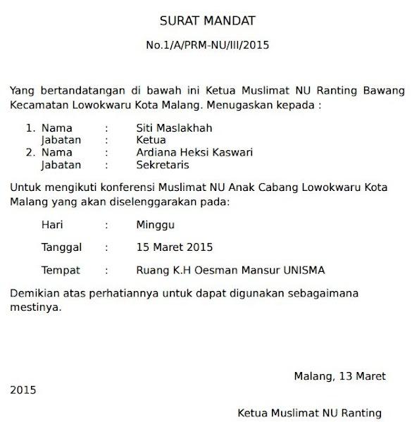 Contoh Surat Mandat Karang Taruna Menghadiri Undangan Seminar di Hotel