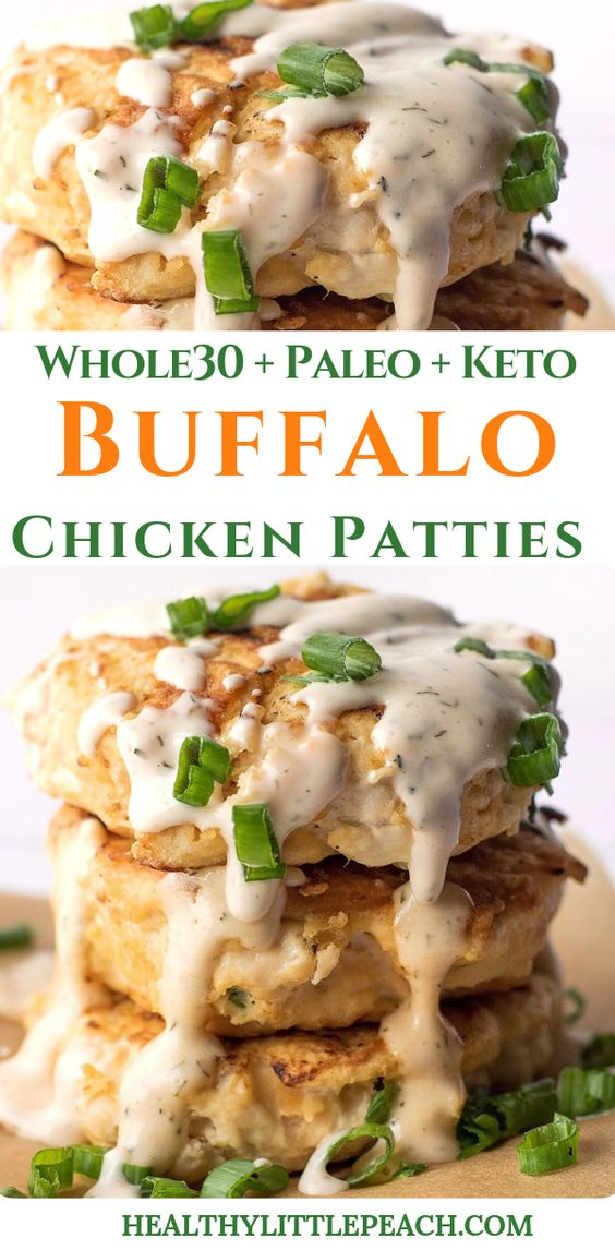 BUFFALO CHICKEN PATTIES WITH SPICY RANCH