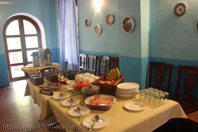 Breakfast buffet at Neemrana Bungalow on the beach Tranquebar