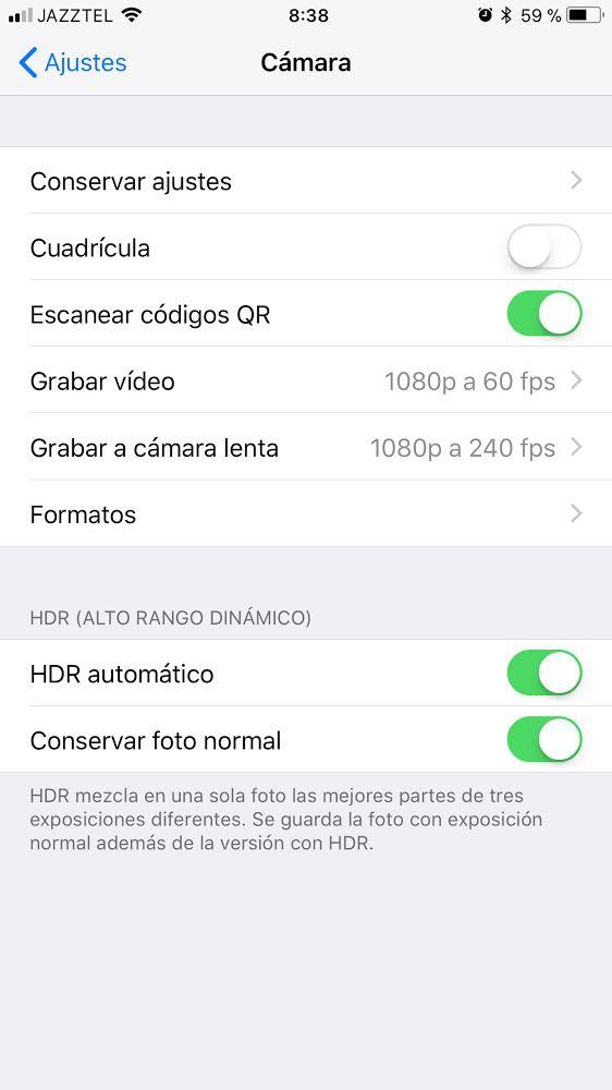 Desactivar el lector de códigos QR en iOS 11