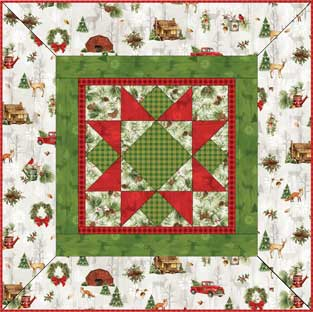 Cozy Cabin Christmas Quilt 41 X 41table Topper Or Tree Skirt Free Pattern By Laura Blanchard For Red Rooster Fabrics Star Log