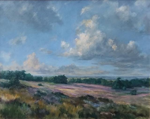 wolken landschap, heidelandschap, olieverf landschap, Sallandse Heuvelrug, Holten,