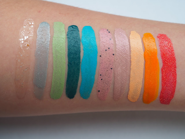 Illamasqua Nail Polish Swatches in Blizzard, Raindrops, Milf, Muse, Noble, Scarce, Pink Raindrops, Purity, Optimist, Marquise.