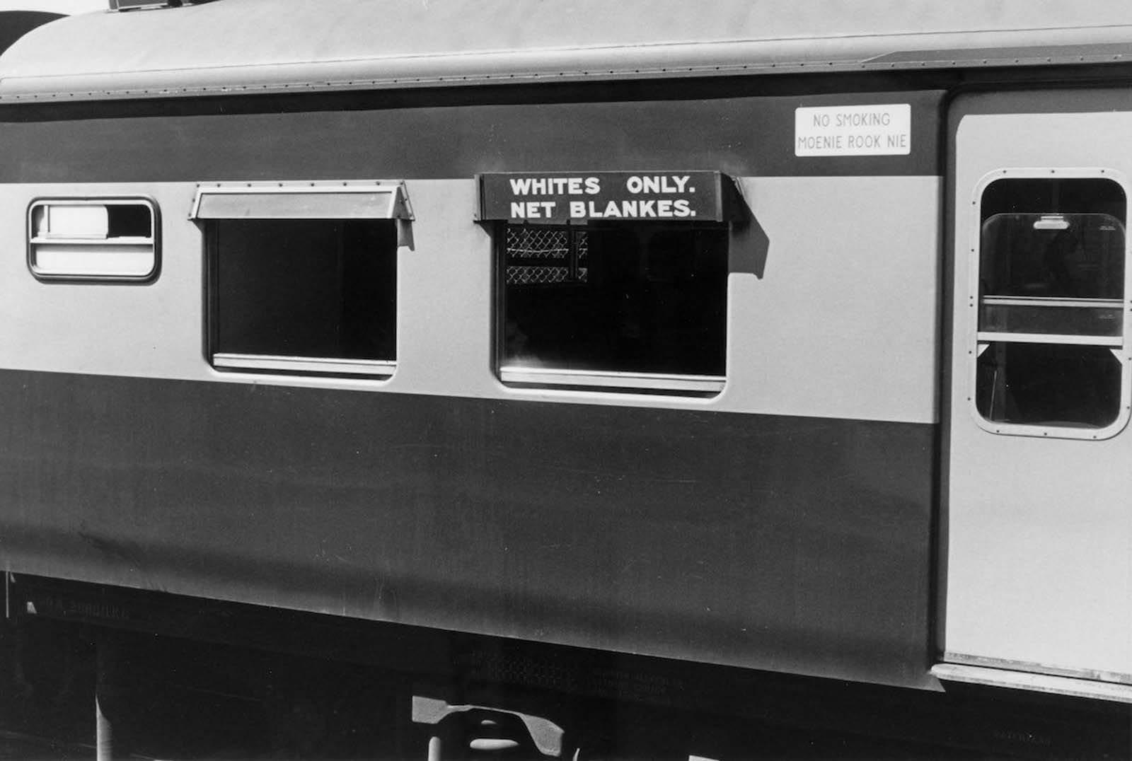 A railway carriage reserved for white people only. 1982.