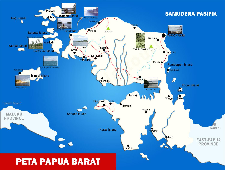 Gambar Peta Provinsi Papua Barat Lengkap