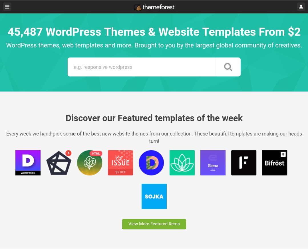 Themeforest interface