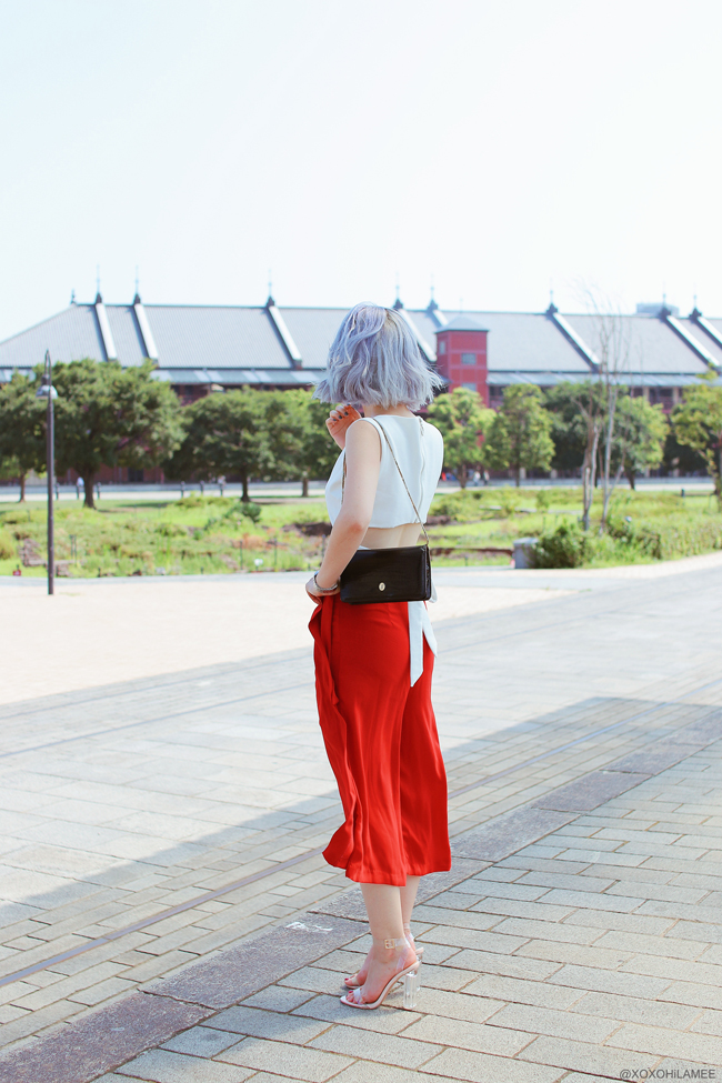 Japanese Fashion Blogger,Mizuho K,20180805OOTD, Chicwish=back ribbon white cropped tank top/ CHOIES= red wrap pants/ SheIn=clear strap sandals/ zeroUV=leopard sunglasses/ hand me down from mother=black enamel bag / Casio=watch street style chic
