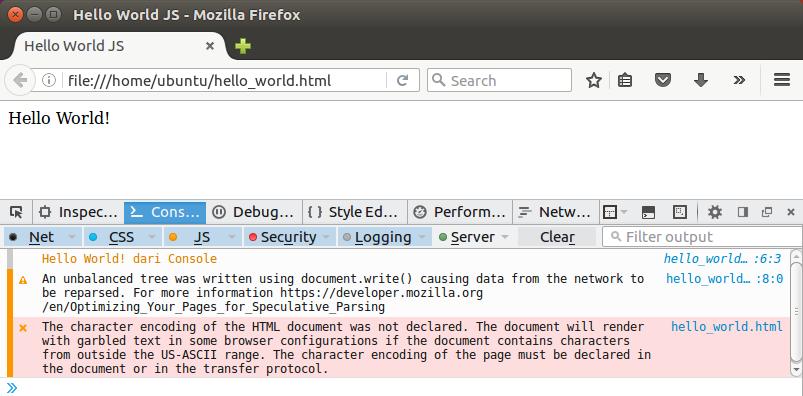 Percobaan Javascript di Browser Firefox Ubuntu