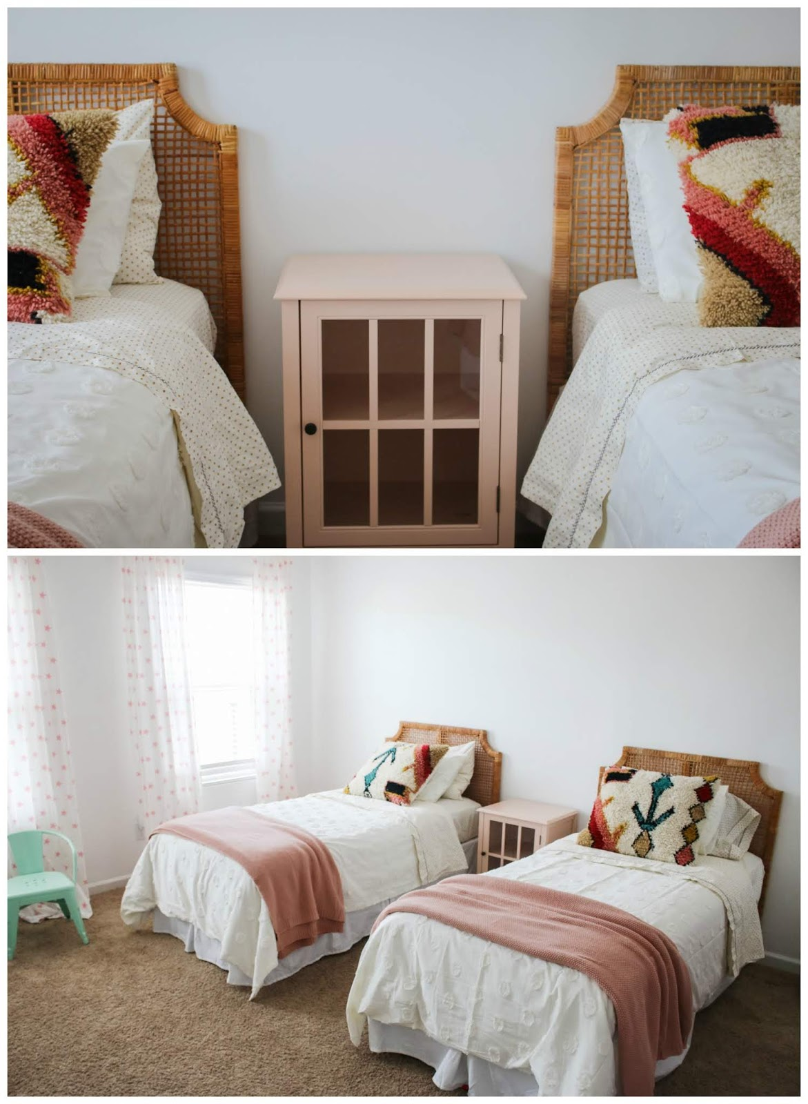 rattan twin headboards with boho bedding