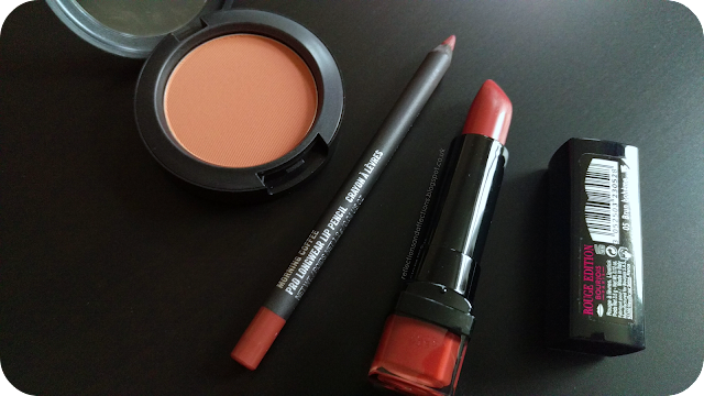 MAC Coppertone matte blush, MAC Morning Coffee lipliner, Bourjois Rouge Edition lipstick Brun