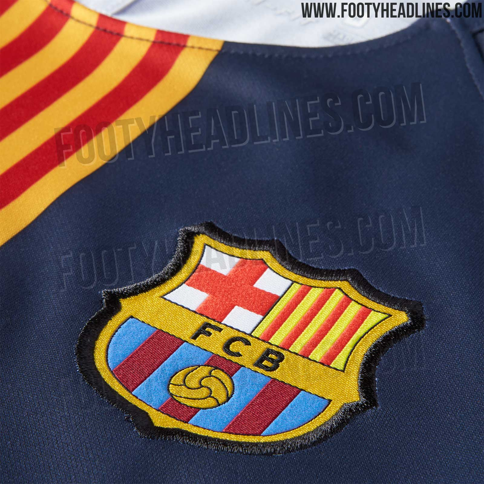 The front of the Barcelona 2018-19 pre-match shirt features the Swoosh on the  right side in gold 4c92c24ef