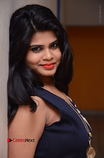 Telugu Actress Alekhya Stills in Blue Long Dress at Plus One ( 1) Audio Launch  0069.jpg