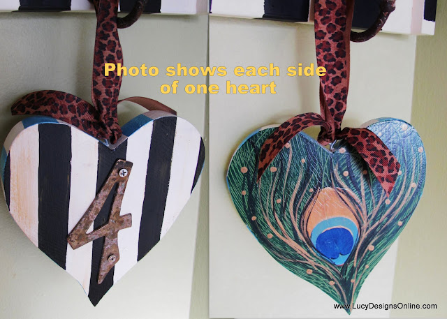 striped heart ornament with recycled number