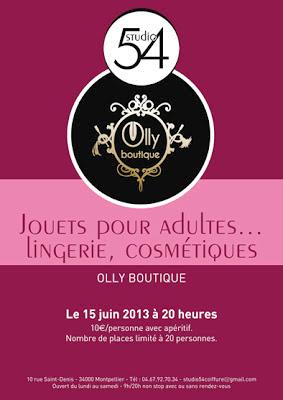 Affiche de la soirée présentation de jouets pour adultes, le samedi 15 juin 2013 à 20 heures.