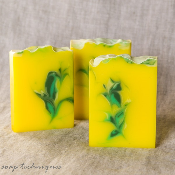 Yuzu cold-process soap, hanger swirl
